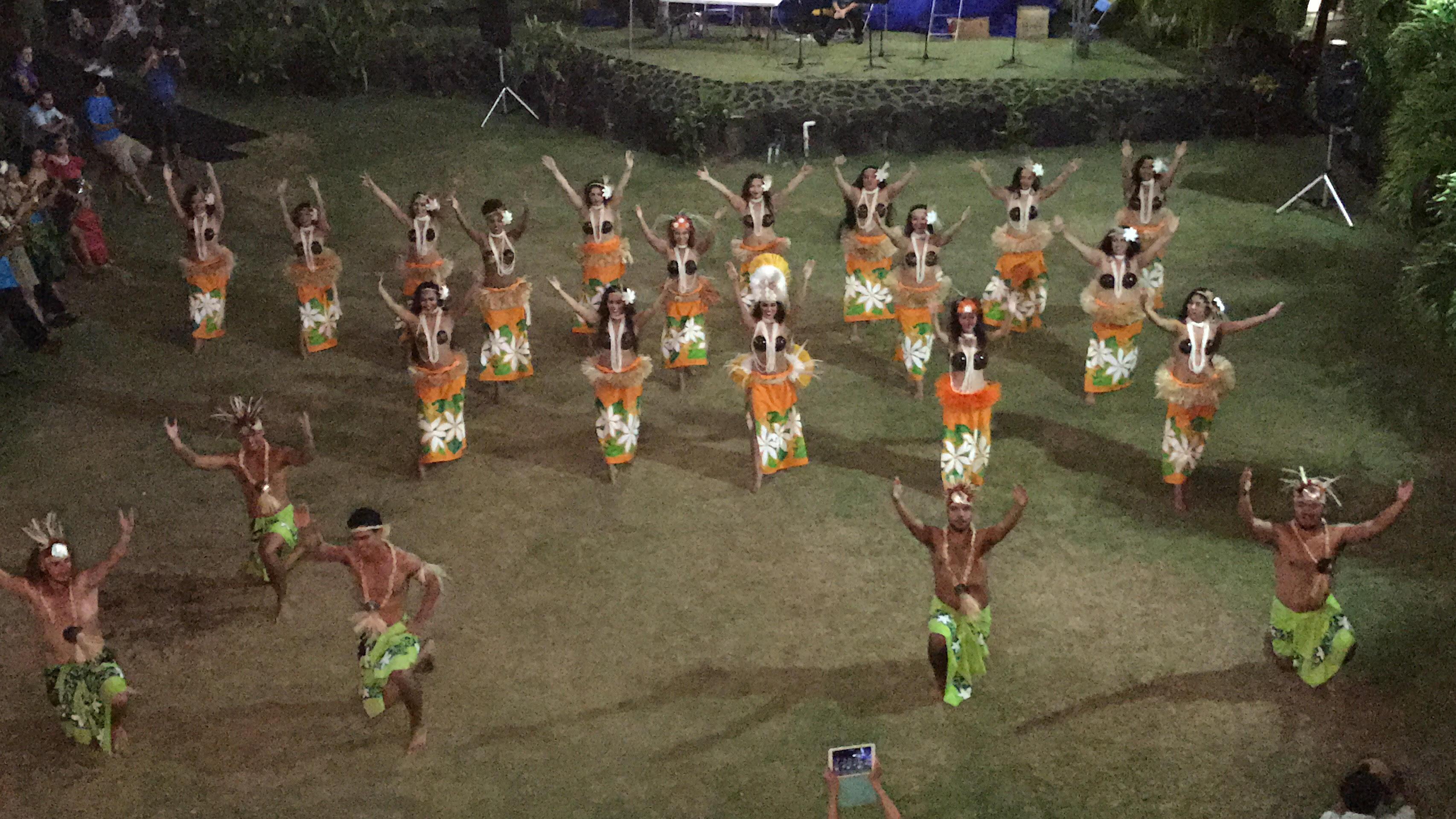 Kaui Perreira (center in the white headdress) and the Temana Tahitian Club