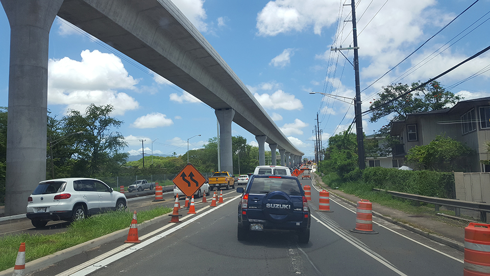 Kamehameha+Highway+is+hit+hard+with+constant+construction+grinding+traffic+to+a+crawl.