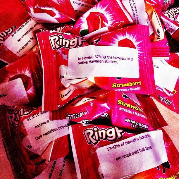 Civic CUH Valentine's candy grams with national statistics about homelessness, abortion, job lay-offs, women's rights and education.