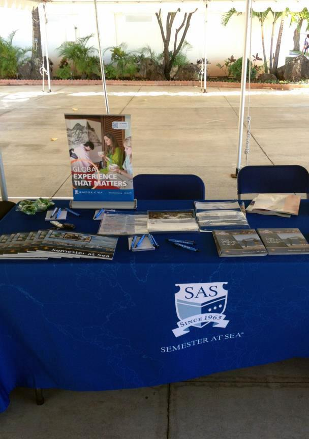 Semester at Sea booth set in the courtyard during Study Abroad Fair. Photo courtesy to Suse Sampaio Simoes.