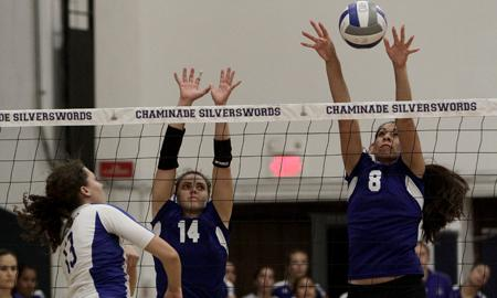 Valentina Bevilacqua (14), one of the two freshmen from Switzerland on the volleyball team, is a valuable part of the Silverswords already. Photo courtesy of Chaminade Athletics