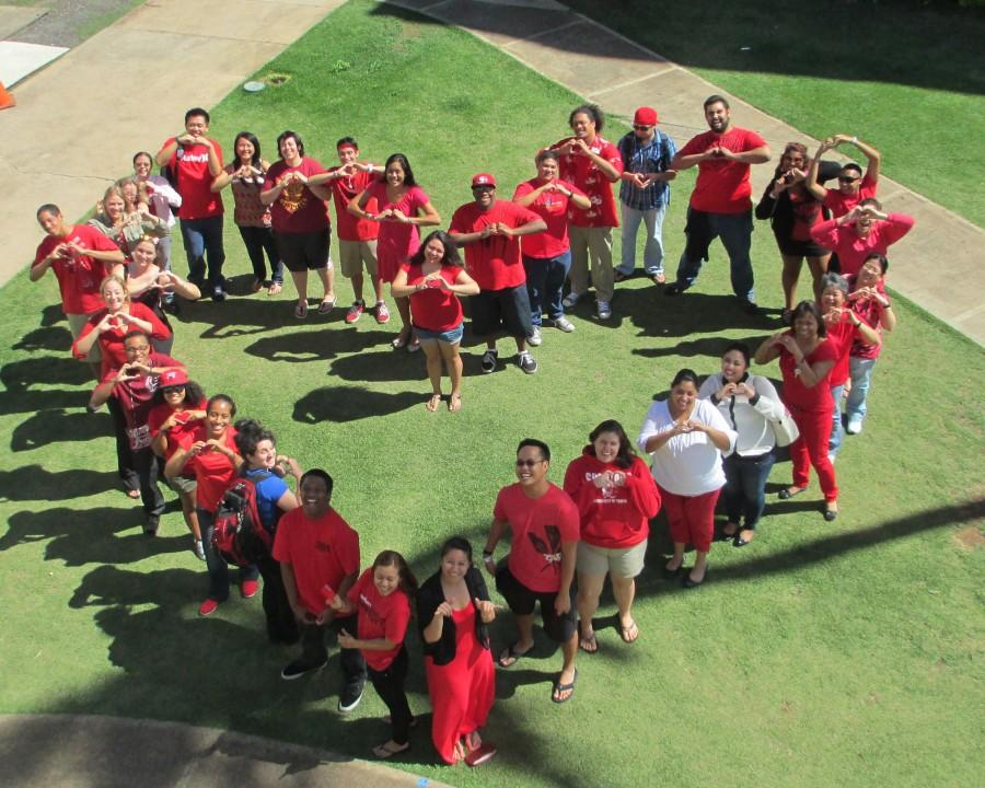 Some+of+the+CUH+Faculty+%26+Students+forming+a+heart+for+National+Wear+Red+Day.