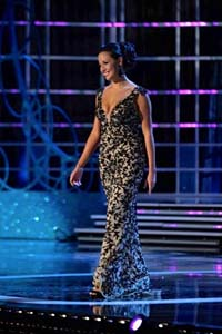 Miss Hawaii; Skyler Kamaka, taking the stage in Miss America's evening gown phase.