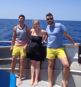 Dan Schade and David Parfitt wore matching yellow shorts in an attempt to attract more sharks.