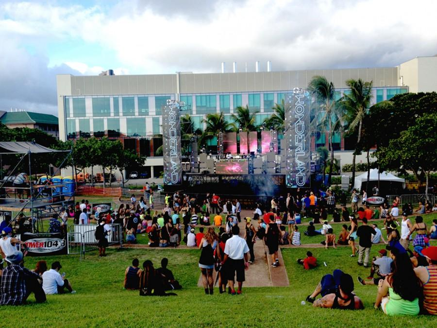 Fans wait patiently as the start of the last EDM event at Kaka'ako begins Photo by Luniva Shakya