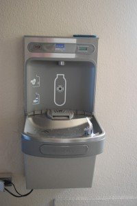 There are five new Elkay EZH2O Bottle Filling Stations on campus.