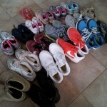 Some of the shoes donataed by Chaminade students.(Photo by Angela Coloretti)