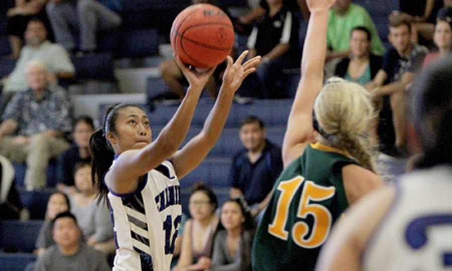 Glacen Florita pulls up for the jumper. Florita also snagged 13 rebounds against UH-Hilo.