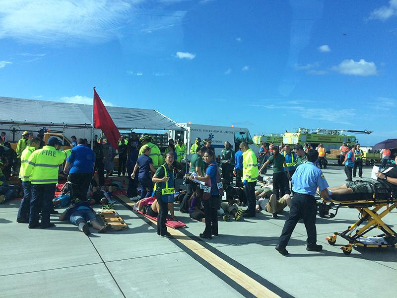 CUH students learn in mock plane crash