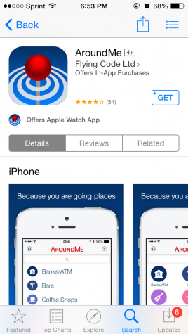 AroundMe pinpoints your location to help you find businesses near you.
