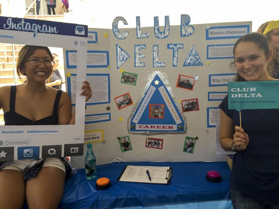 Tiare Saniatan and Brandi Gonzales, current officers of Delta Club, were excited to recruit new student members during Club Fest.