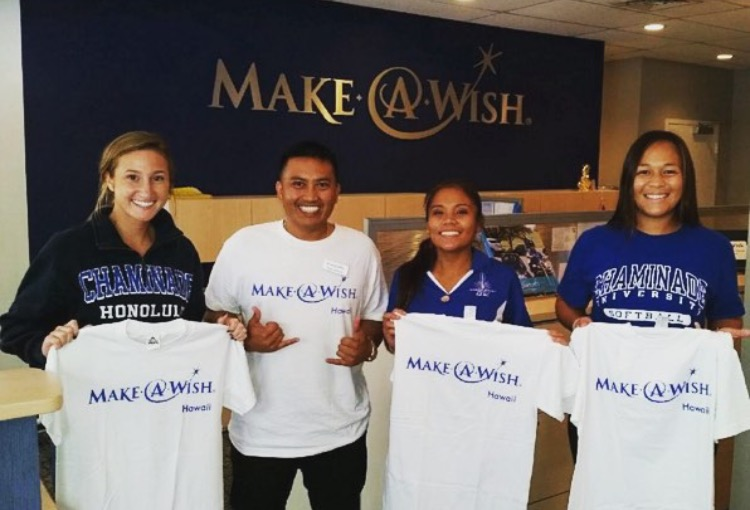 SAAC officers Megan McClannahan, Chelsea Camello and Amber Manuel representing Chaminade in the Make-A-Wish foundation.