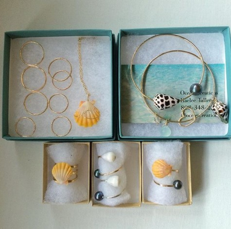 Necklaces, rings, and bangles! Oh, my! The ocean inspired pieces are head-turners.