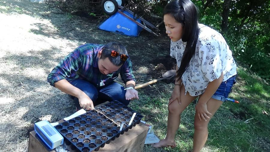 Chakhrits Kapileo (left) and Claire Taira (right) are a part of the growing Garden Club on campus.