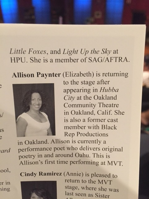 Allison Paynter in the MVT Playbill