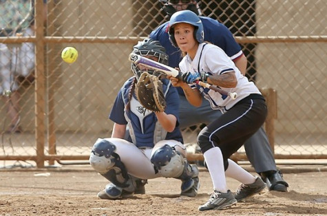 Sierra Mendiola laying down a bunt at CORP against Cal Baptist last season.