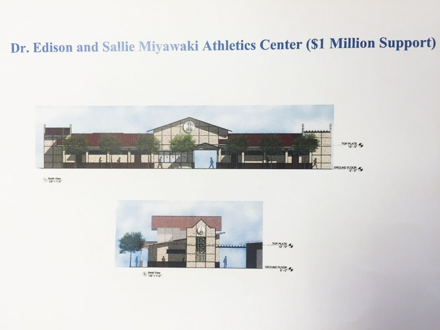 The Dr. Edison H. and Sallie Y. Miyawaki Family Athletics Center will be constructed in 2017.