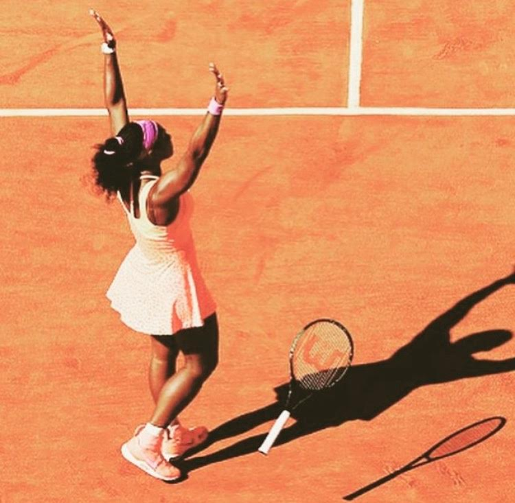 Serena Williams celebrates after a win at this years French Open.