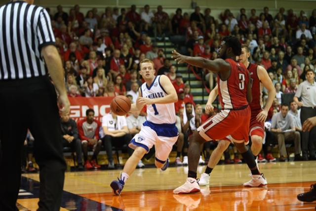 Dantley Walker drives to the basket against his former team, UNLV.