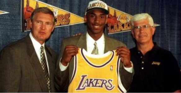 Kobe Bryant joins the Los Angeles Lakers after being traded by the Charlotte Hornets in the 1996 NBA Draft.