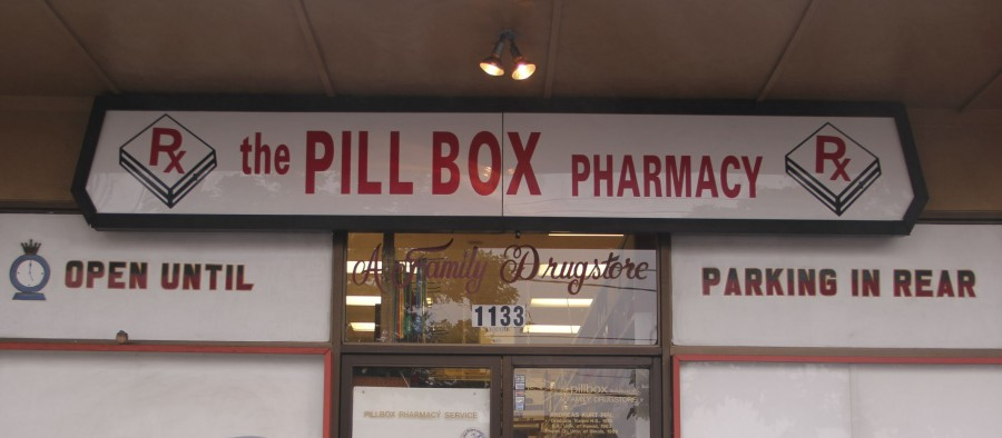The Pillbox pharmacy is an independent pharmacy, convenience store, and ice cream parlor.