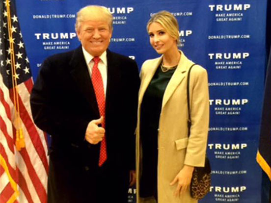Presidential candidate Donald Trump goes campaigning with his daughter Ivanka.