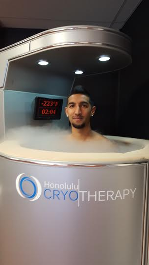 Here I am in the cryosphere, where dry air getting as low as 225 degrees Fahrenheit engulfs my body and draws in new blood, allowing me to speed up my recovery time.