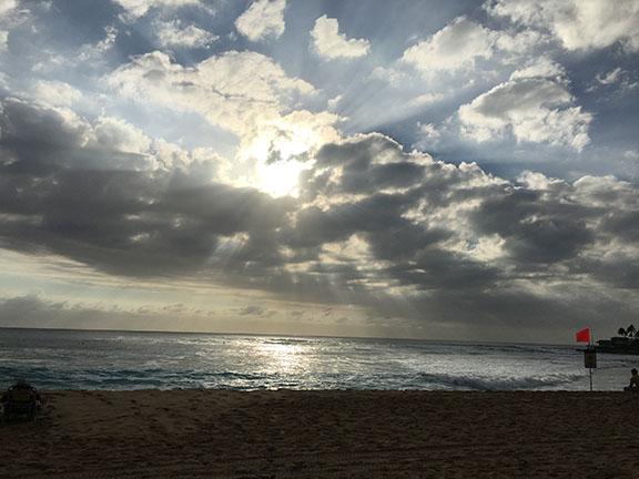 Sunset at beautiful Makaha Beach where ten-year-old Raymond Senensi was viscously attacked.