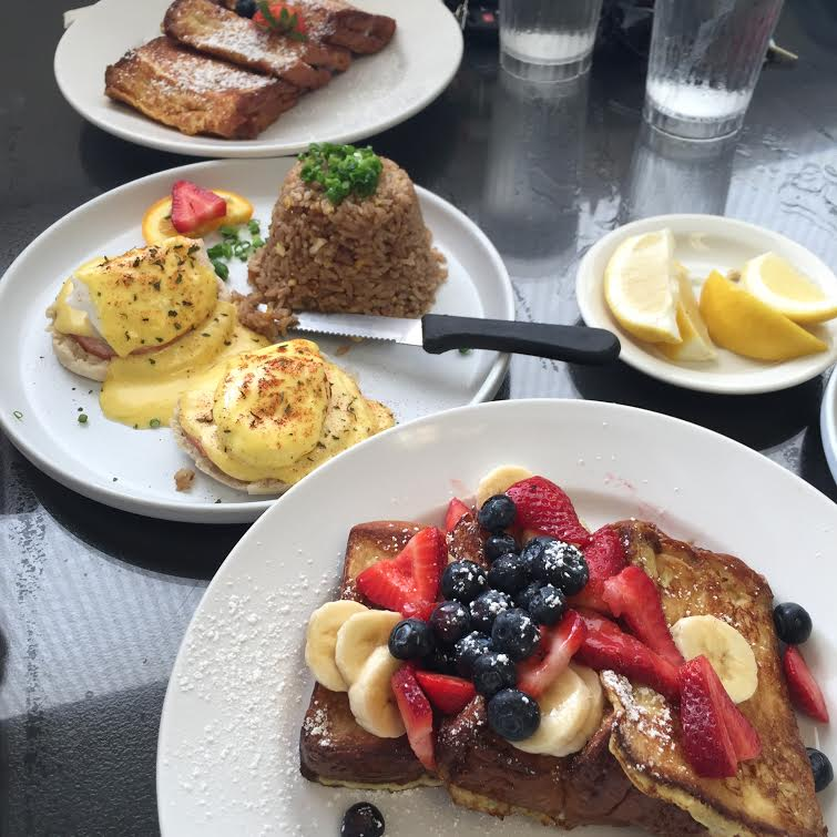 Top: Blueberry cream cheese stuffed French toast. Middle: Traditional eggs Benedict. Bottom: Traditional French toast.