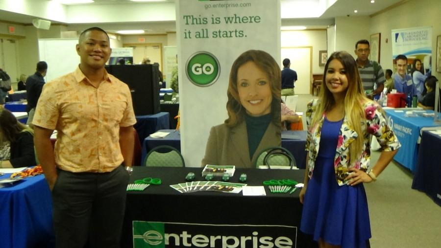 Warren Kwan (left) and Christina Cooper (right) attended the event on behalf of Enterprise.