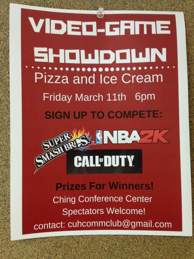 The Video-Game Showdown flyer can be found all around campus