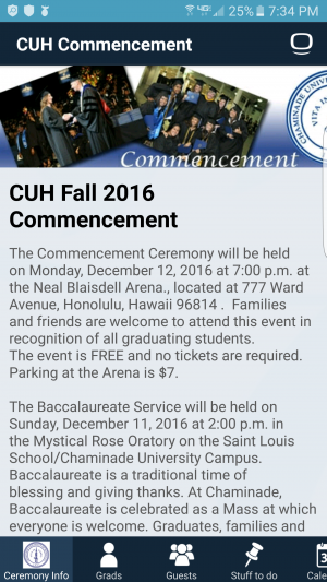 Chaminade's Commencement app allows students directions and information pertaining to graduation.