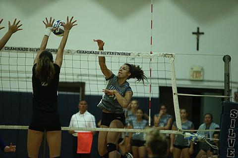 Sophomore Daisia LaBrie led Chaminade with 10 kills as the Swords beat 10-time national champion BYU-Hawaii on Wednesday.