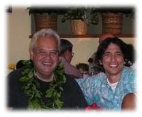 Kumu Keahi with his mentor, Kumu John Keola Lake.