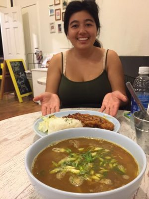 Christela Perez enjoys her chicken katsu curry from Hawaii curry.
