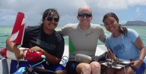 Grabowsky and her students exploring the vast pacific with gusto. Curtesy of Gail Grabowsky