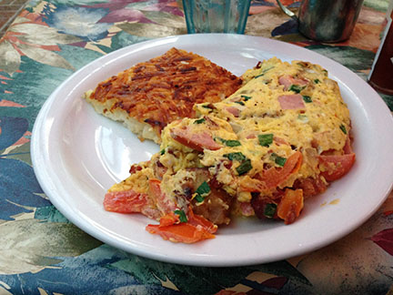 One of the many omelettes you can order at Cinnamon's