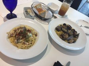Carbonera (left) and Vongole (right) are fulfilling light pastas.