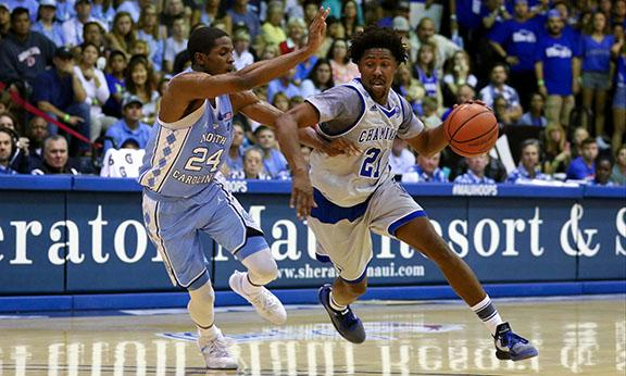 Chaminades Rohndell Goodwin makes a move on UNC at last years Maui Invitational.