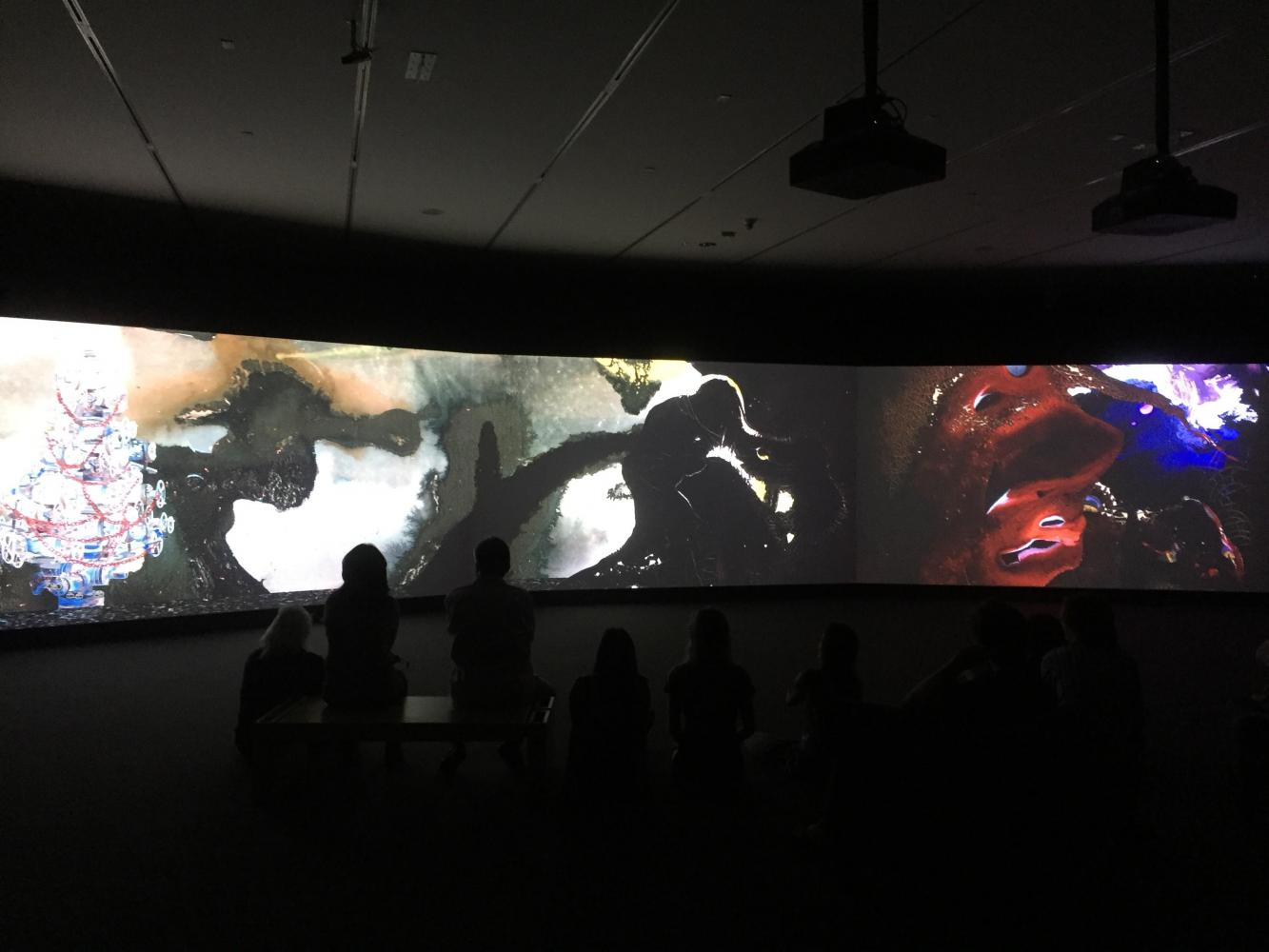 Art After Dark Participants watch Sikander's Parallax.