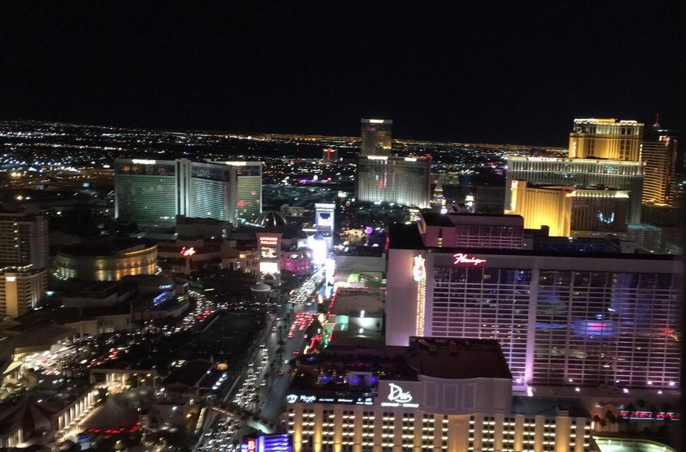View of the Las Vegas Strip from the Paris hotel's Eiffel Tower.