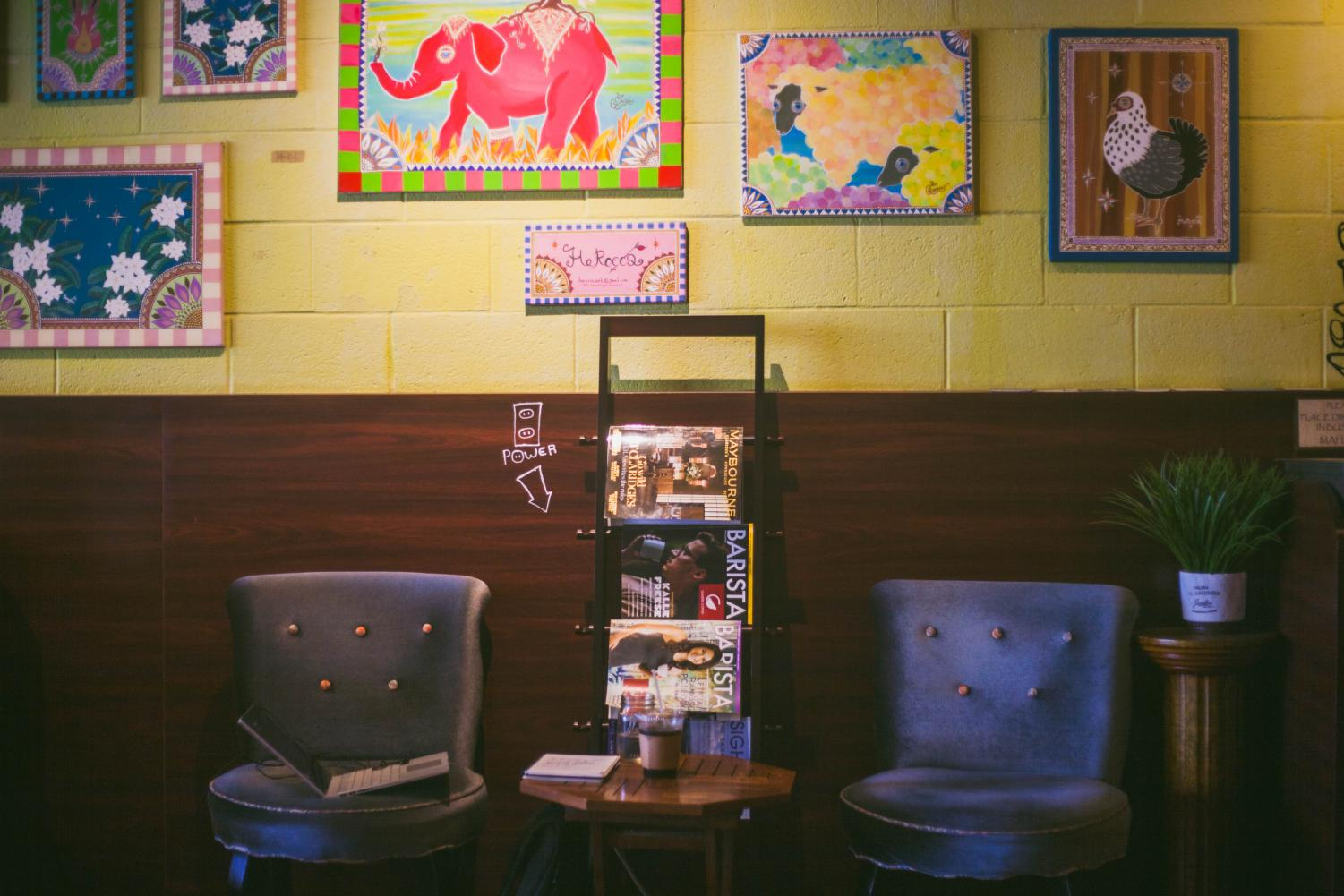 Seating at Glazer's Coffee.