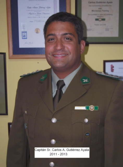 Officer Carlos Gutierrez in his police uniform back in Chile.