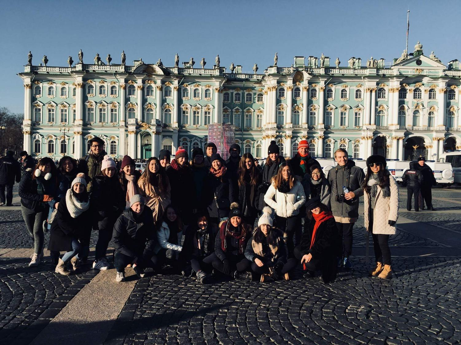 CUH student Bennett Romeo and other AIFS students posing in front of Catherine Palace, St. Petersburg, Russia.