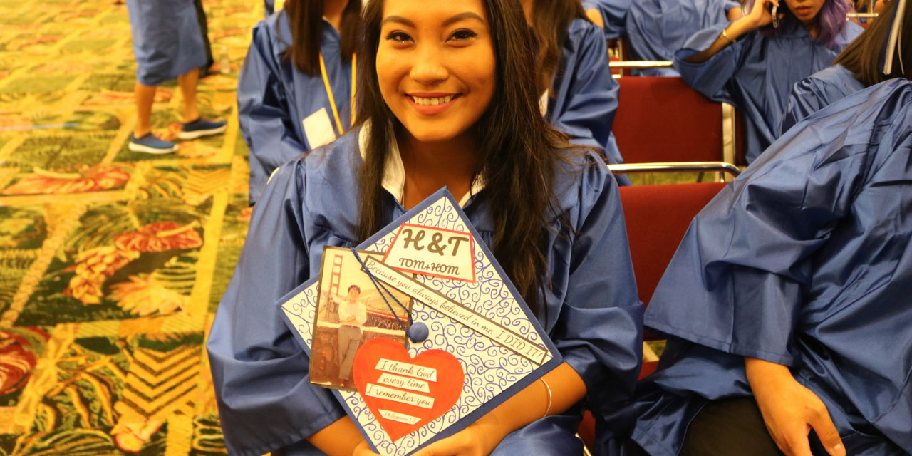 Charvie Duque's graduation cap was crafted and personalized to honor her father, who passed away in 2011.