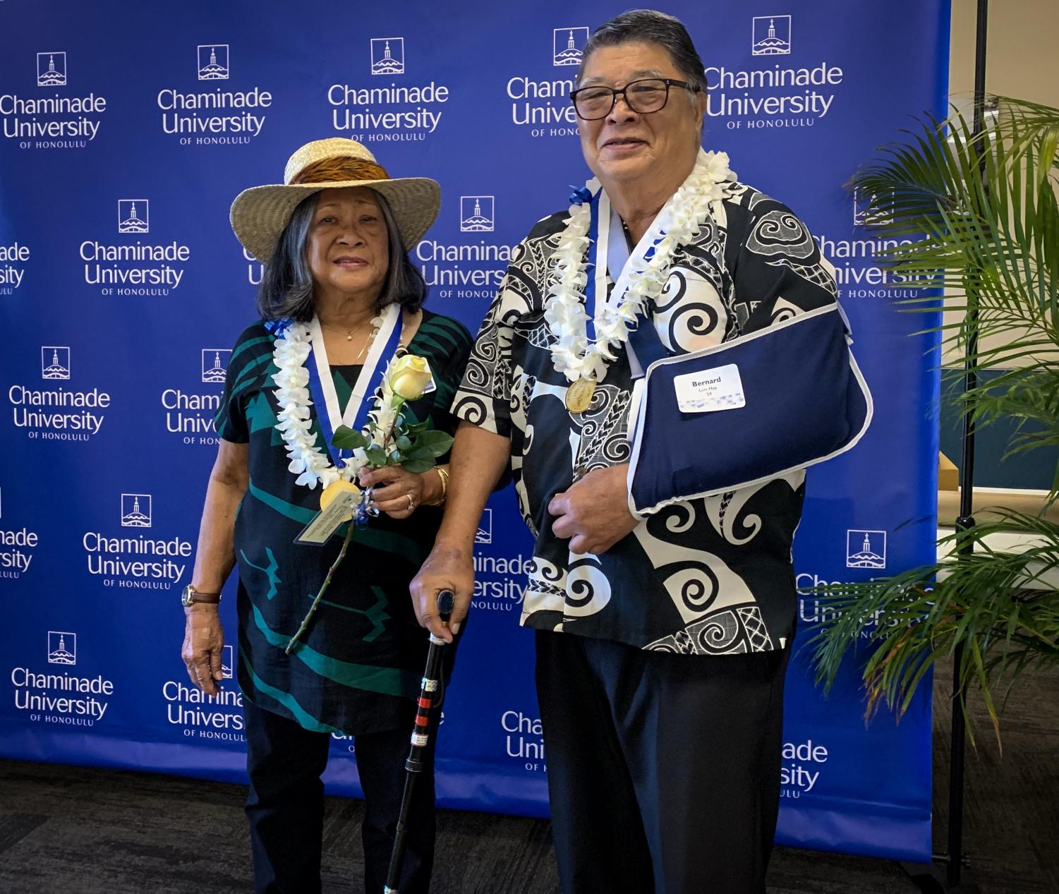 Lolita Lum Hoy '61 with husband Bernard '59, who was honored last Sunday during the annual alumni reunion.