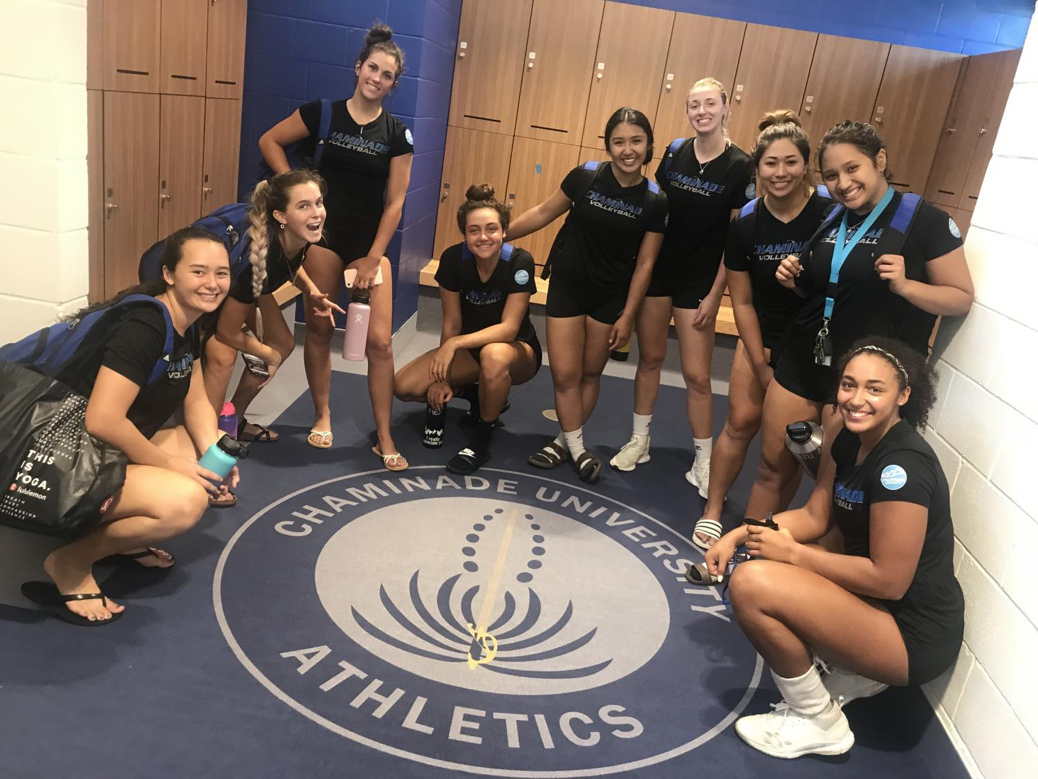 The CUH women's volleyball team enjoys the tour of the locker room, which they will begin using in August.