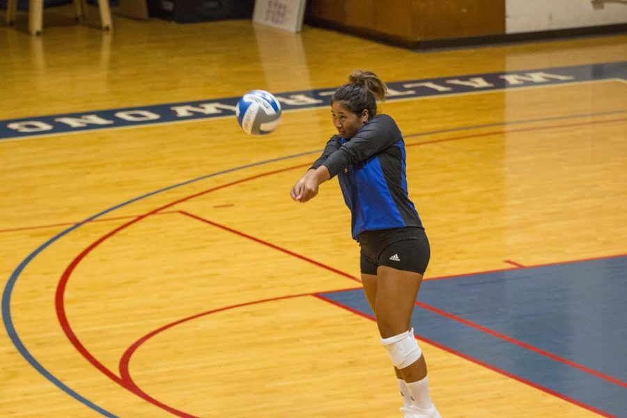 Red-shirt junior Leka Kiner-Falefa led the team with 10 digs in the win over HPU.