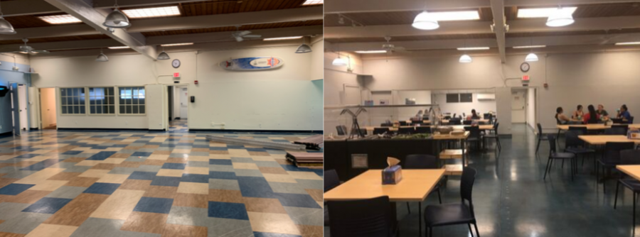 Changes+to+the+old+cafeteria%E2%80%99s+%28left%29+layout%2C+air+conditioning%2C+and+lighting+have+been+made+to+make+students+feel+more+comfortable+%28right%29.