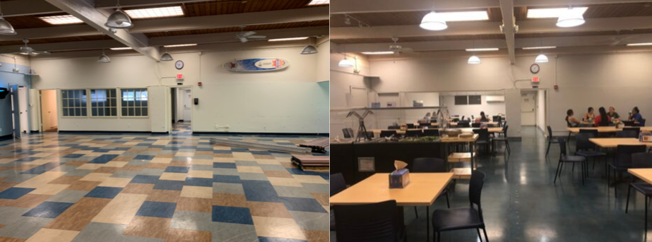 Changes to the old cafeteria's (left) layout, air conditioning, and lighting have been made to make students feel more comfortable (right).